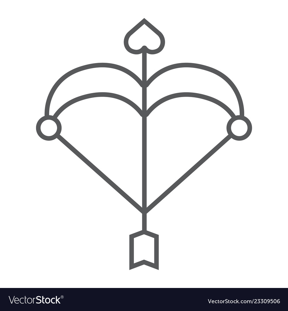 Cupid bow thin line icon love and valentine