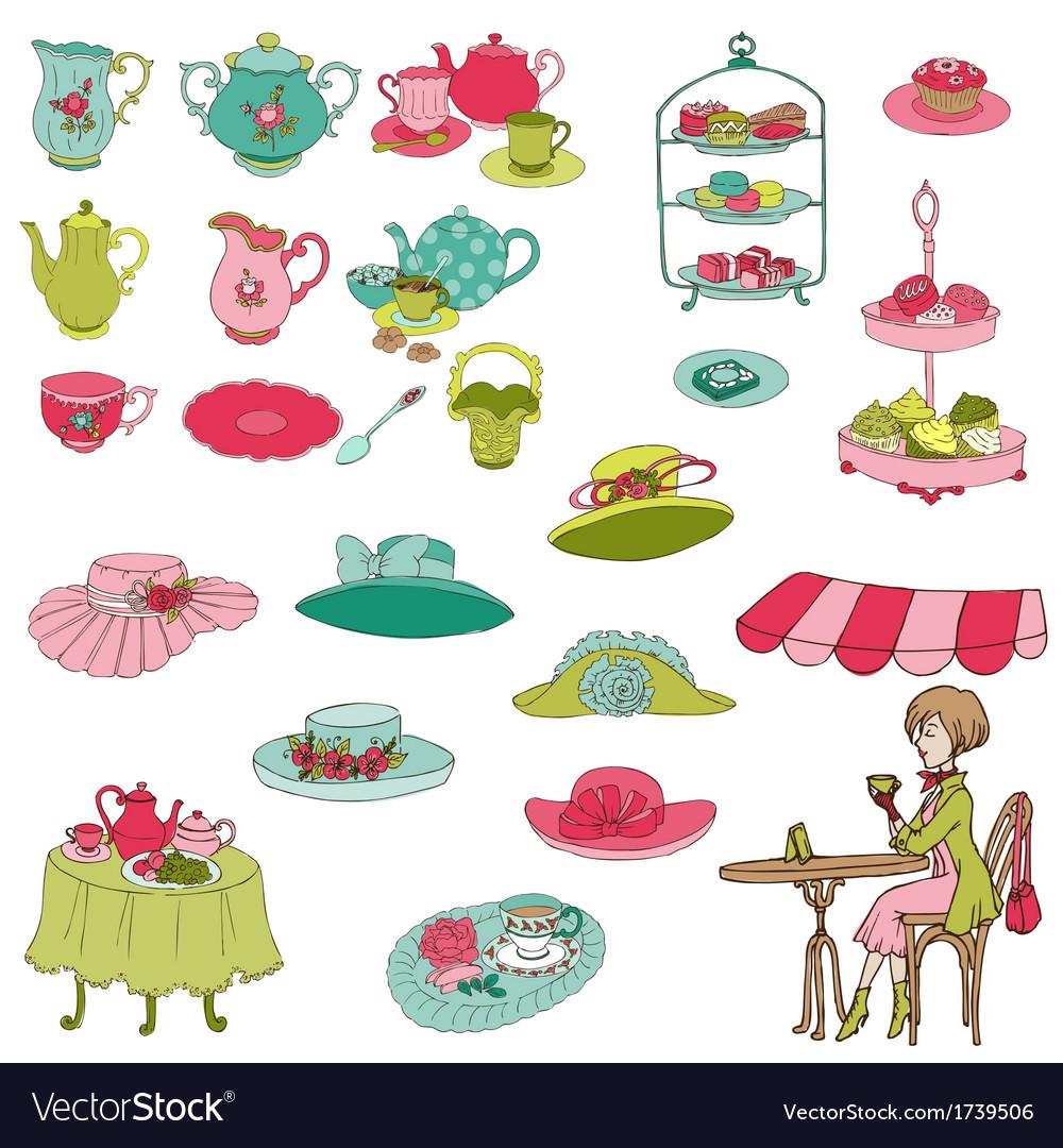 English Tea Party Set vector image