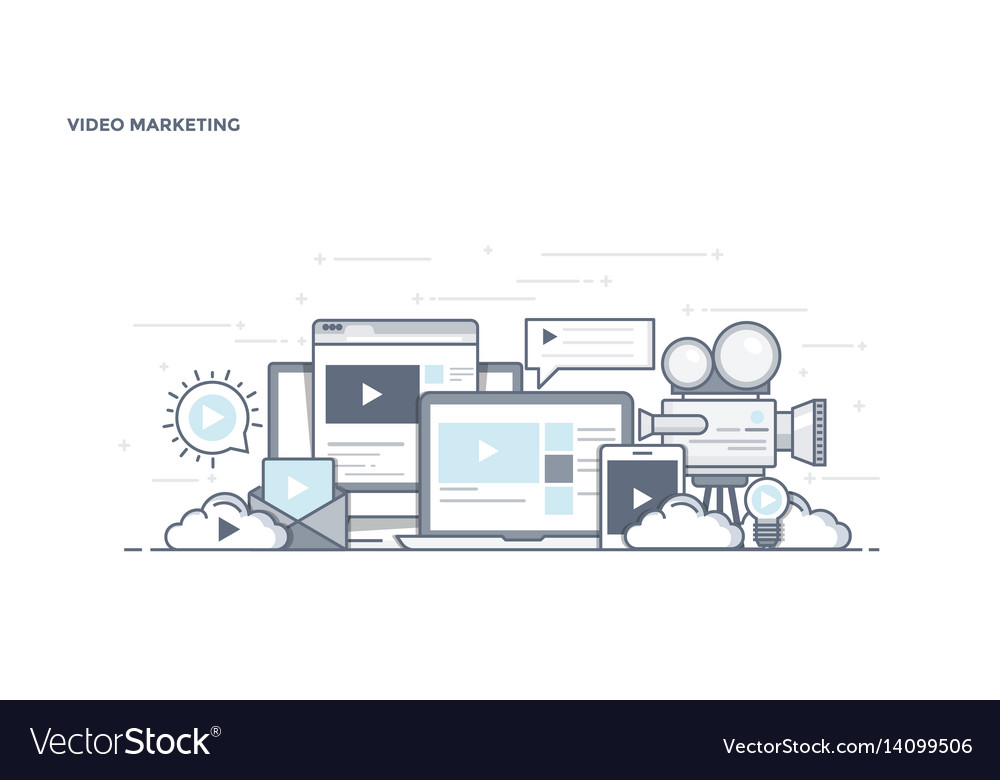 Flat line design header - video marketing vector image
