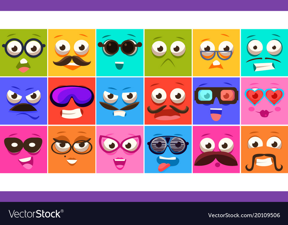 Funny colorful square faces se with different