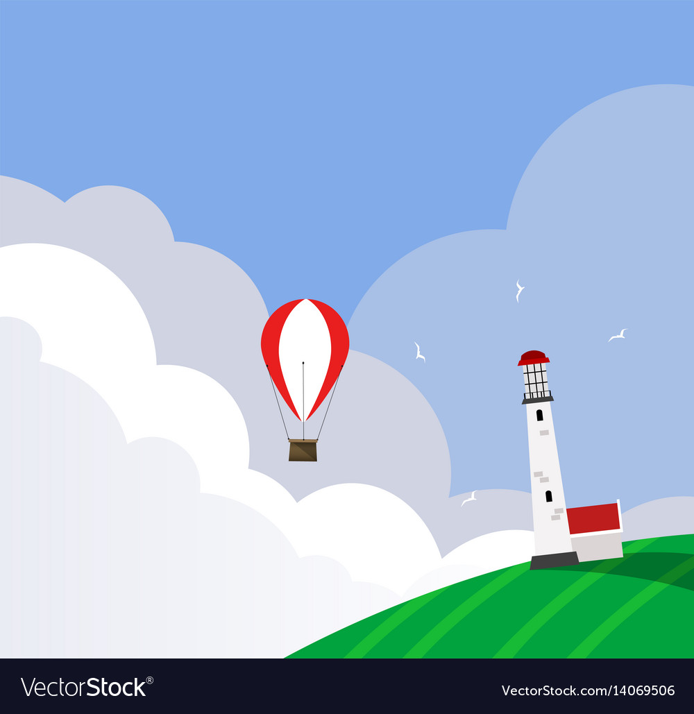 Hot air balloon flying over the fuild and vector image