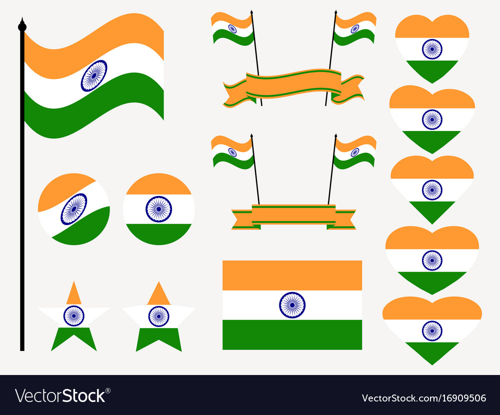 India flag set collection of symbols flag