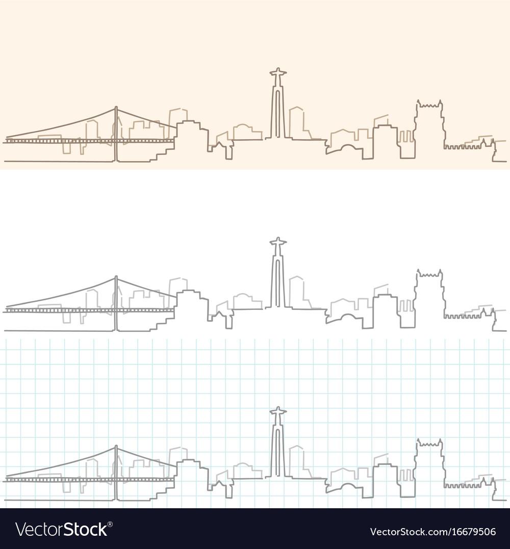 Lisbon hand drawn skyline
