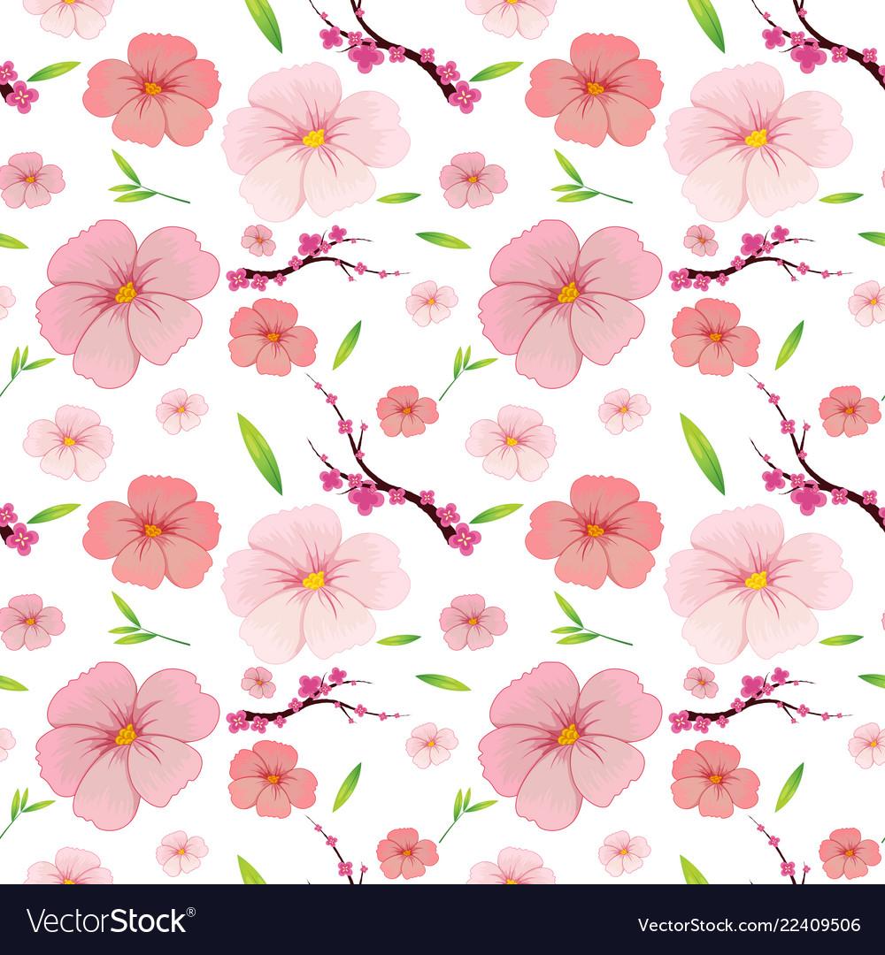 Pink Hibiscus And Sakura Seamless Background Vector Image