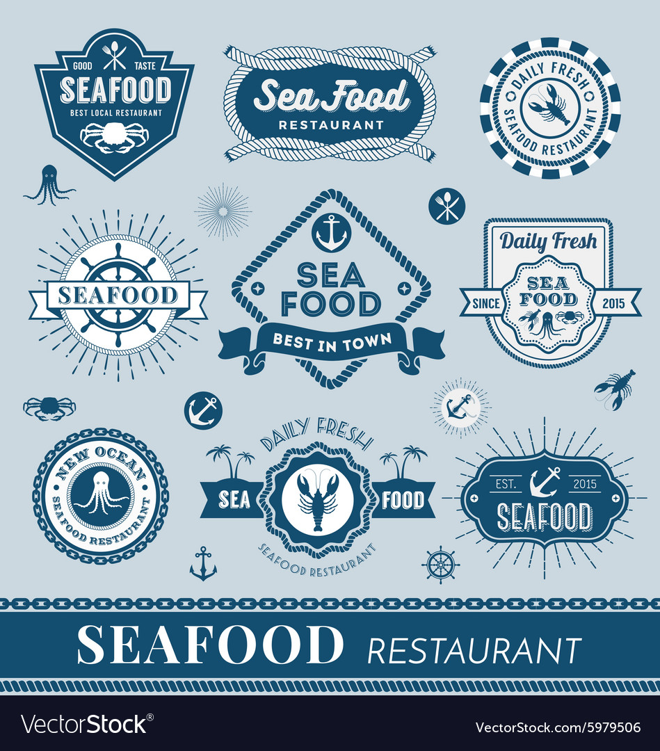 Set of seafood restaurant logo banner design