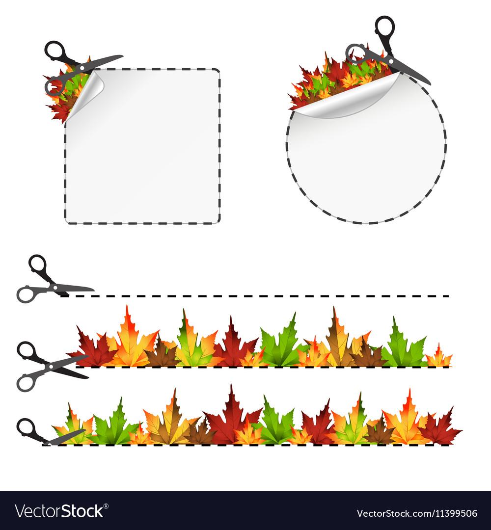 Sscissors cut sticker Autumn leaf