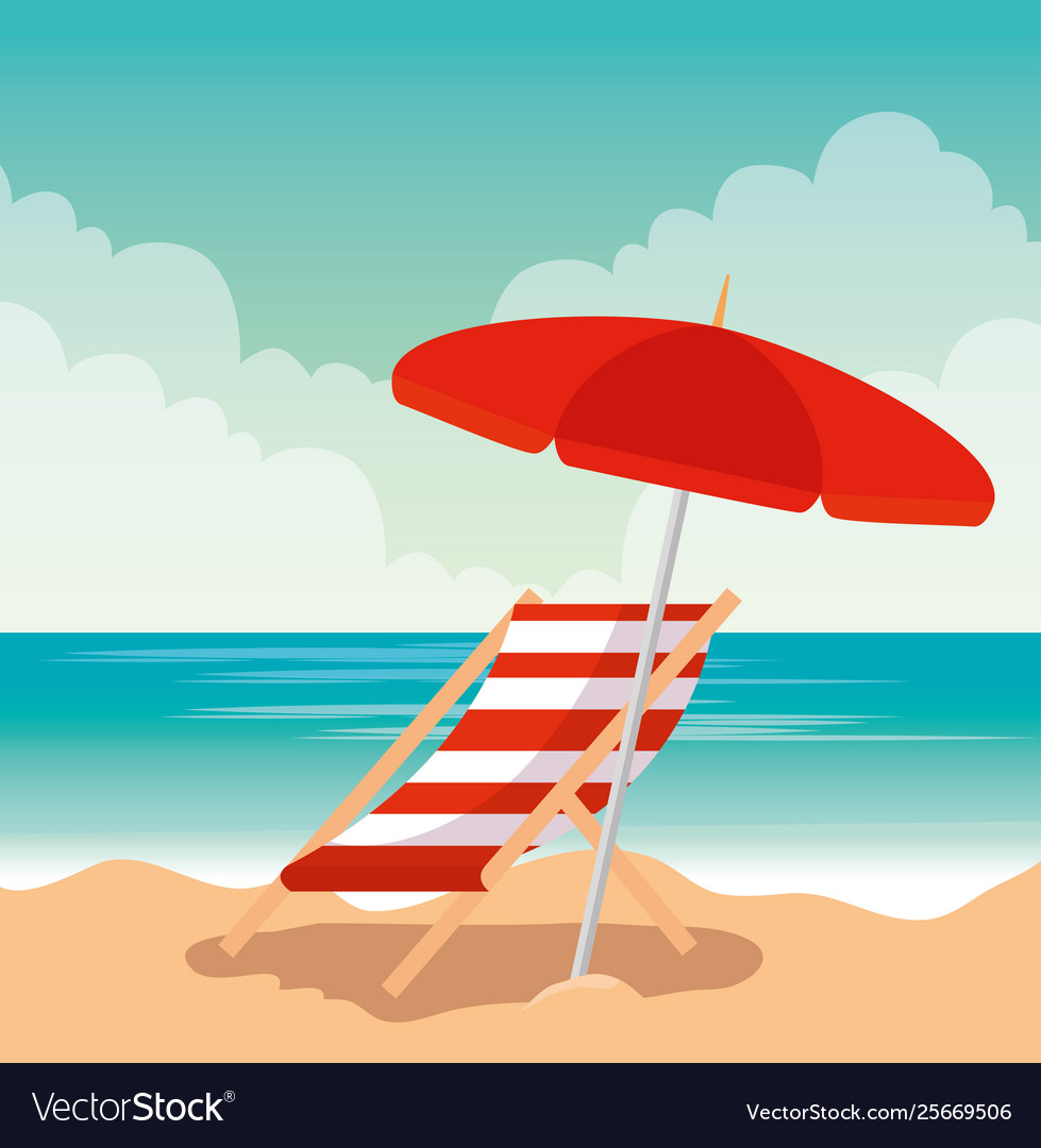 Umbrela And Tropical Beach Vector Image