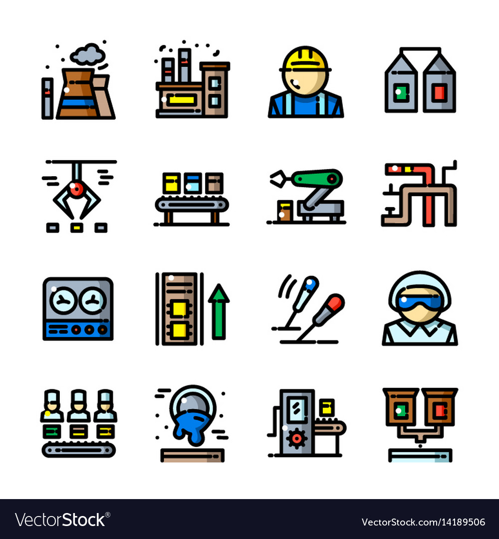 Thin line factory icons set