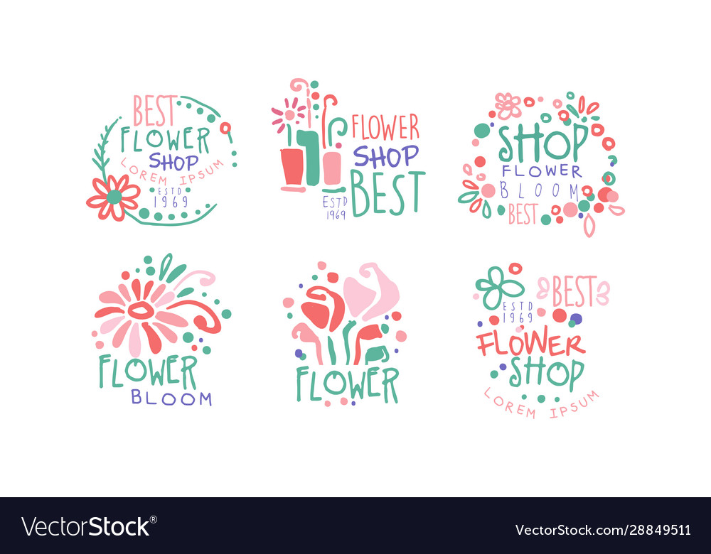 Best flower shop retro labels collection colorful