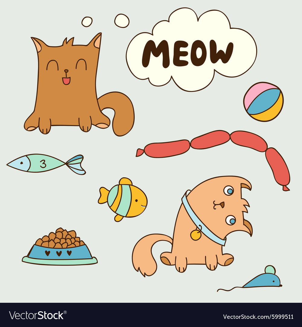 Cartoon cute domestic kittens