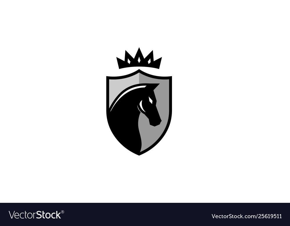 Creative black horse shield crownlogo design