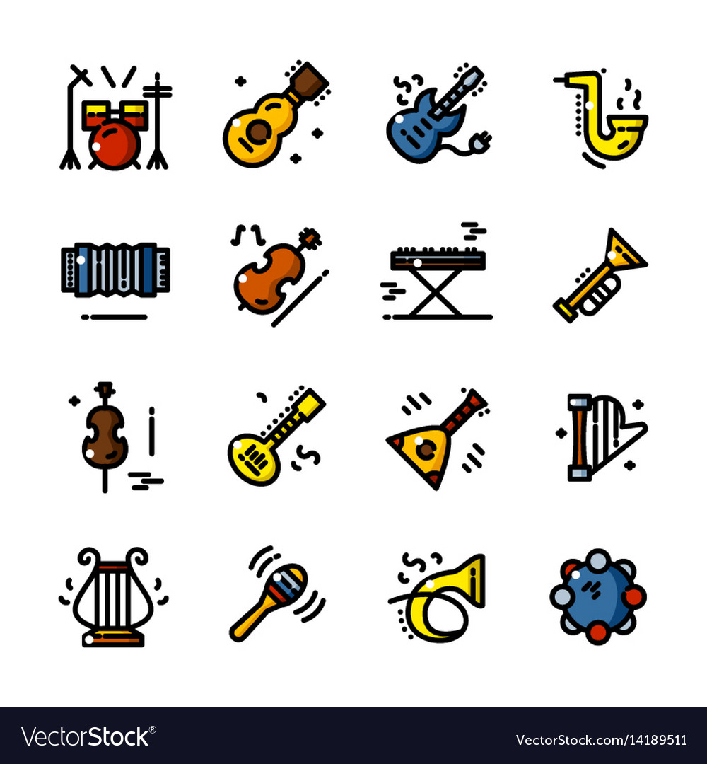Line musical instruments icons
