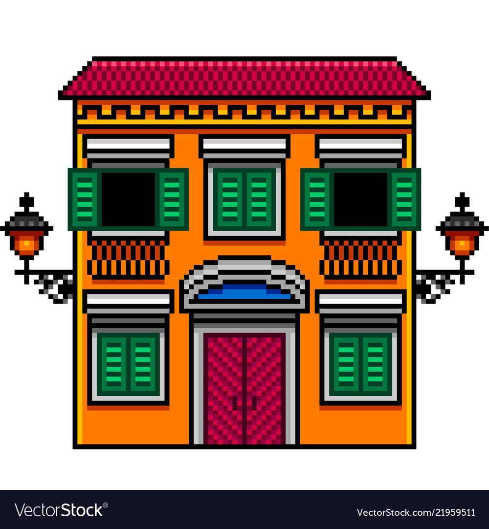 Pixel art orange italian house with street lights
