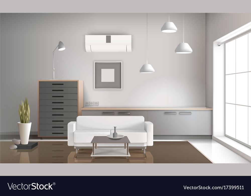 Realistic Sitting Room Interior 3d Design Vector Image