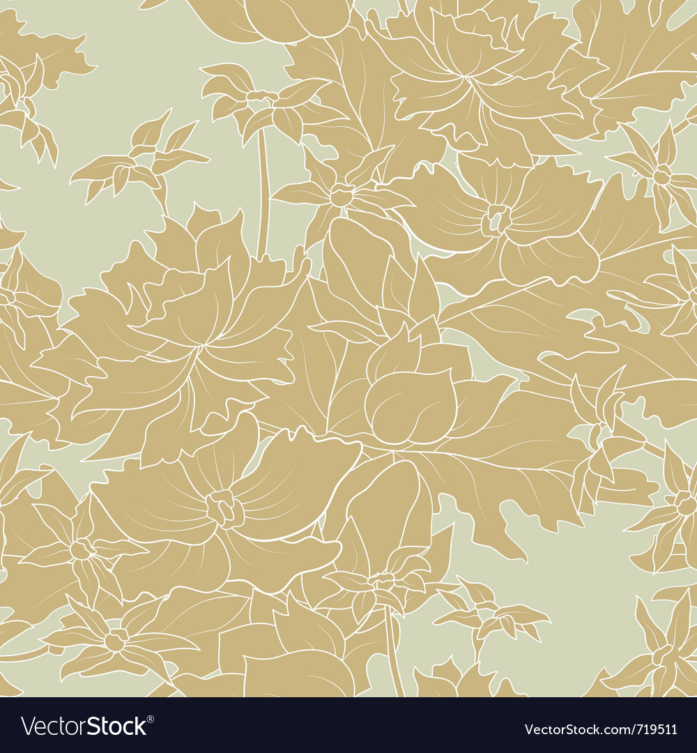 Seamless of a outline flowers and leafs vector image