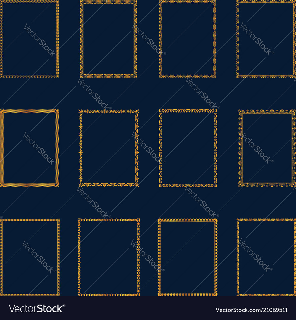 Set luxury golden frames and borders set set vector