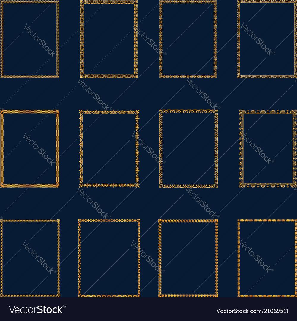 Set of luxury golden frames and borders set set