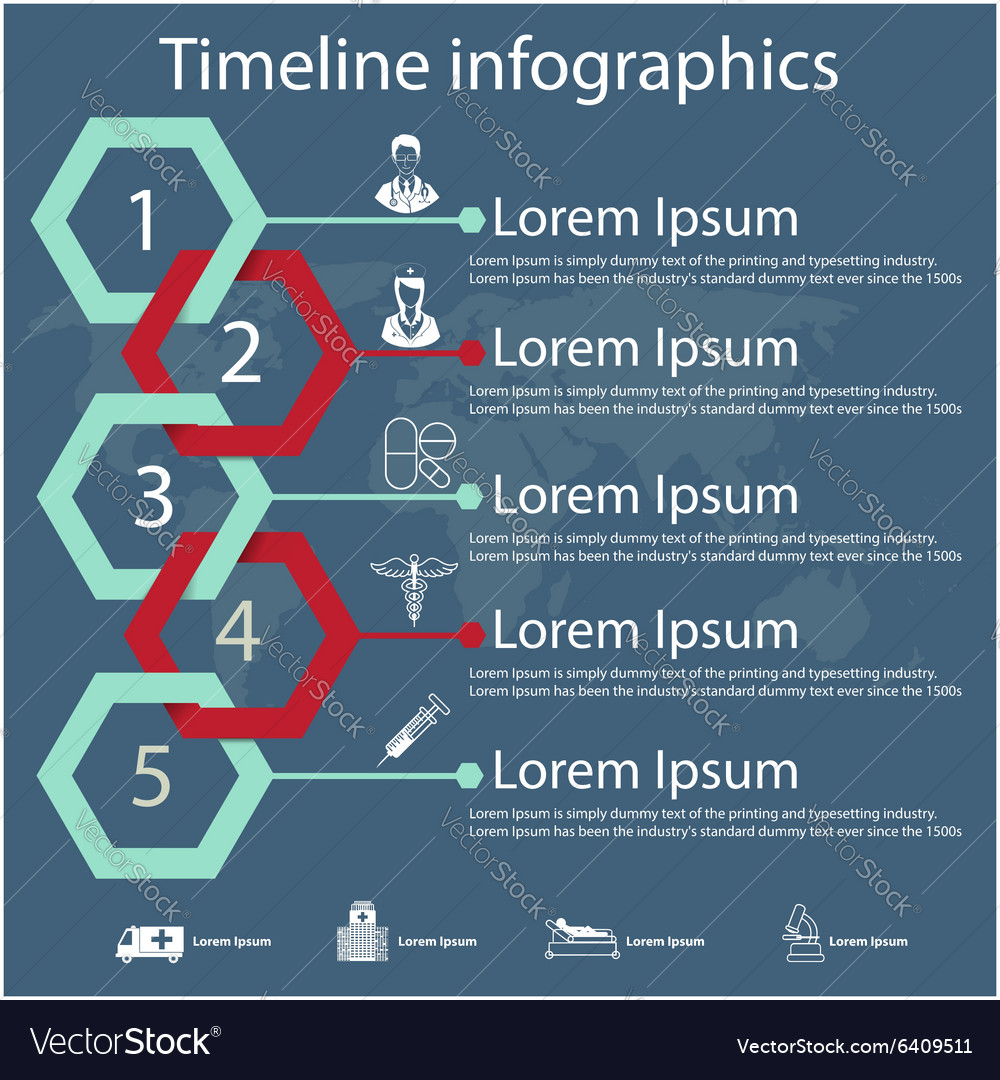 Timeline infographics with medical icons