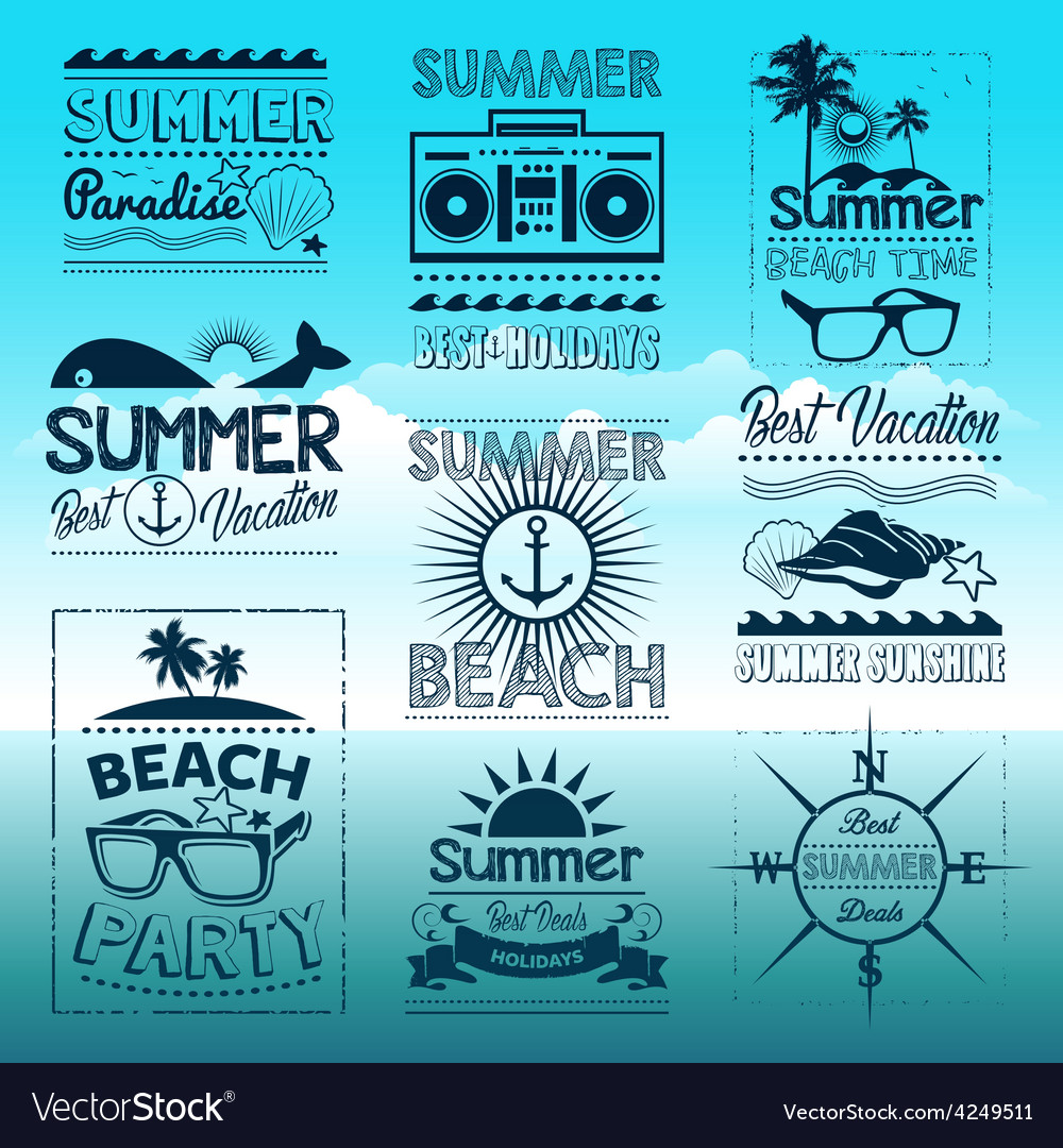 Vintage summer typography design with labels