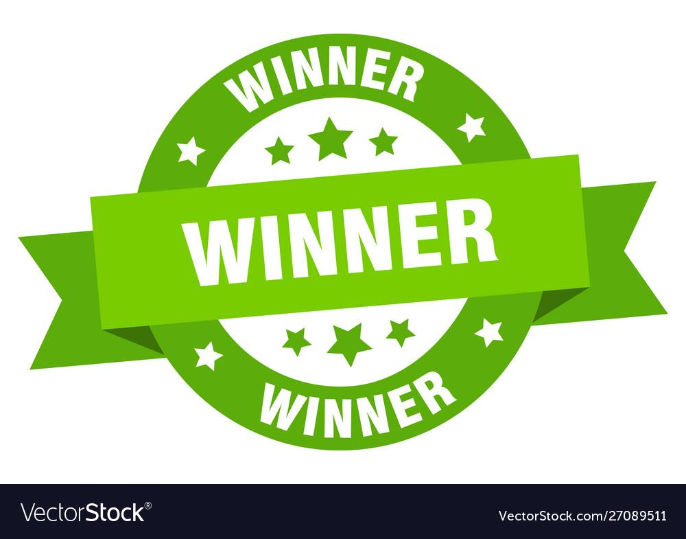 Winner ribbon winner round green sign winner