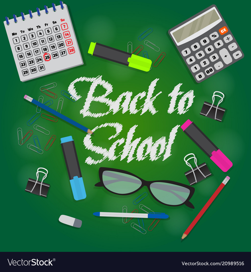 Back to school text on green chalkboard banner