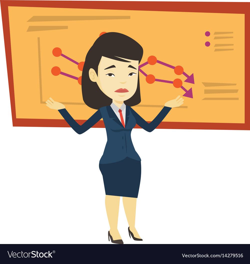 Bankrupt business woman vector image