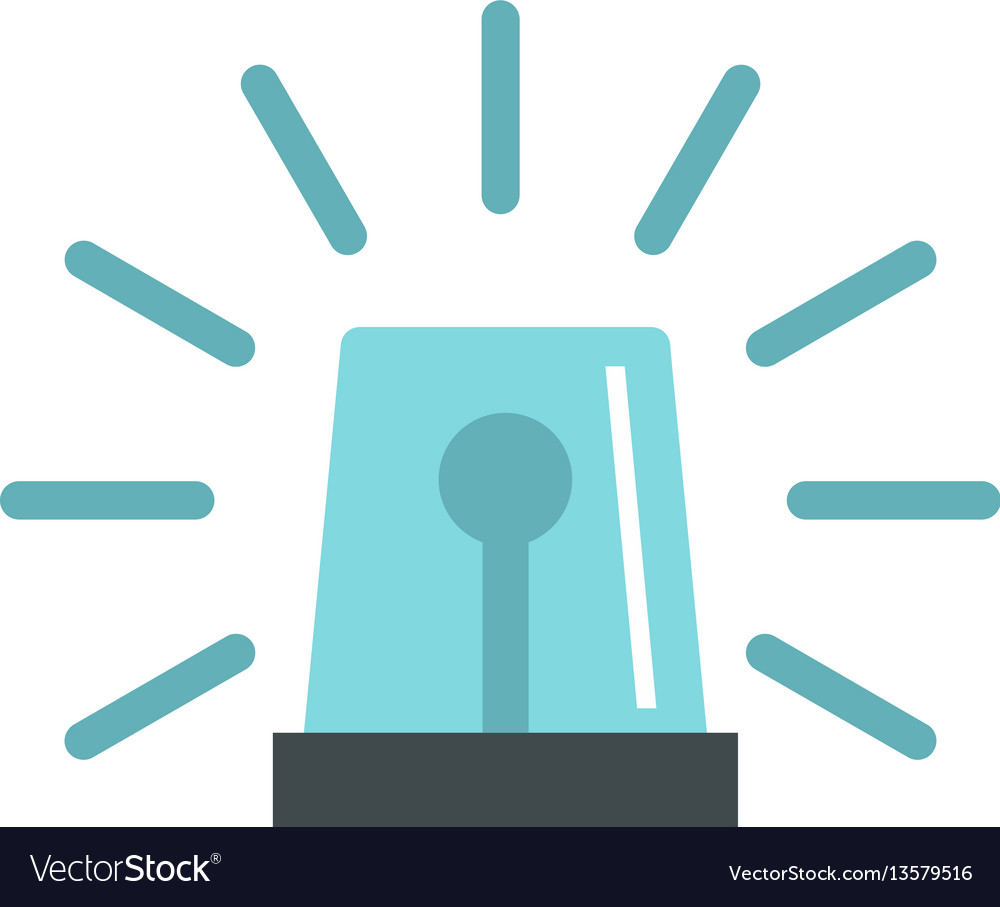 Blue flashing emergency light icon flat style vector image