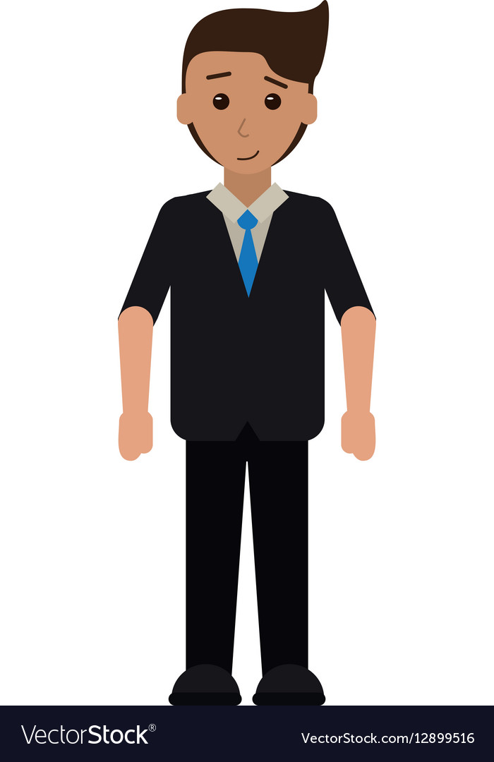 Cartoon young man with suit tie employee vector image