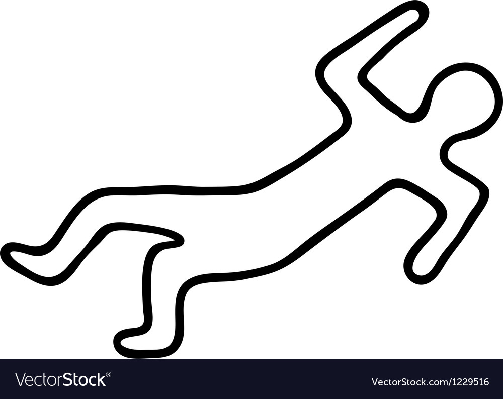 chalk outline of a dead body royalty free vector image rh vectorstock com Cartoon Dead Guy cartoon picture of dead body