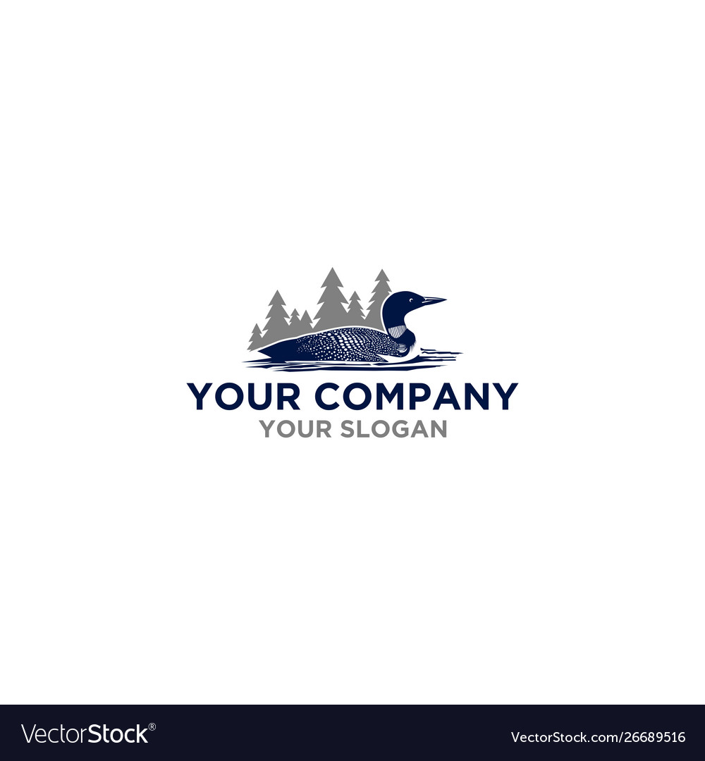 Common loon in mountain logo design