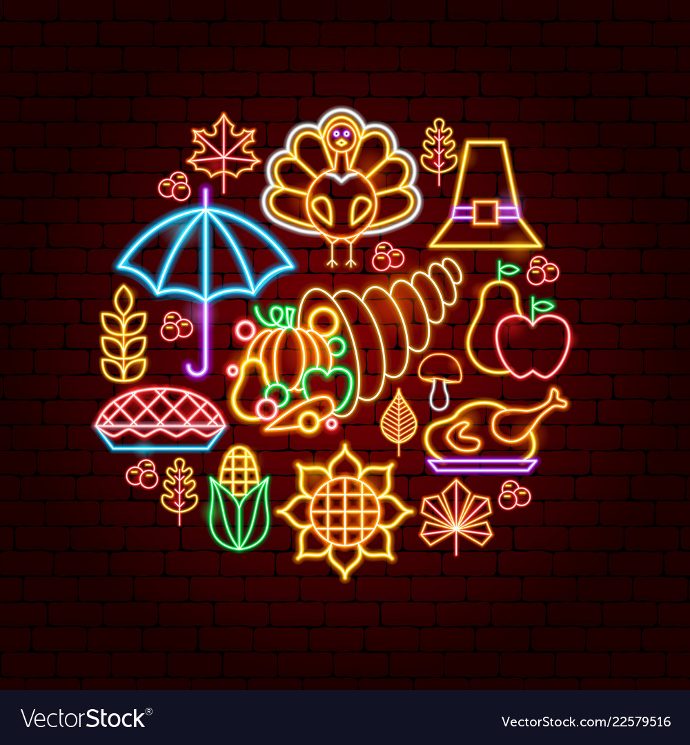 Happy thanksgiving day neon concept