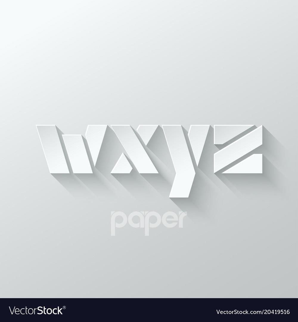 Letter w x y z logo alphabet icon paper set