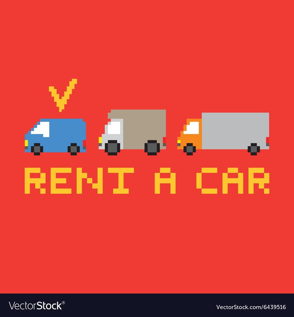 Pixel art rent a car card