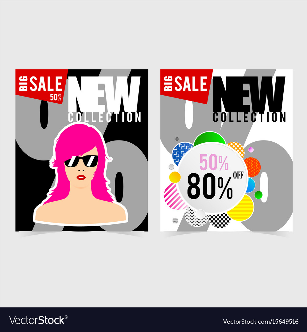 Poster for big sale with woman head design vector image