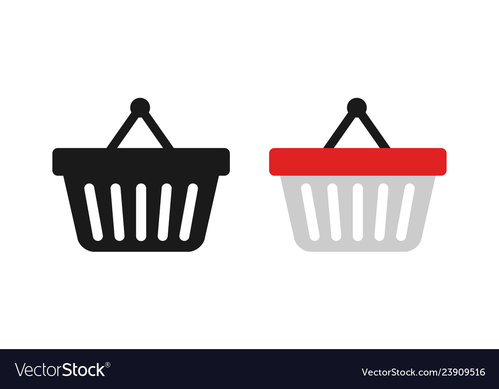Shopping baskets in trendy flat style on blank