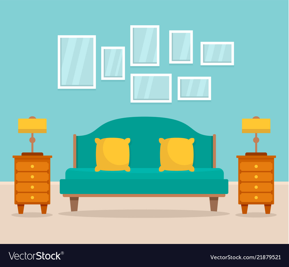 Bedroom interior concept background flat style