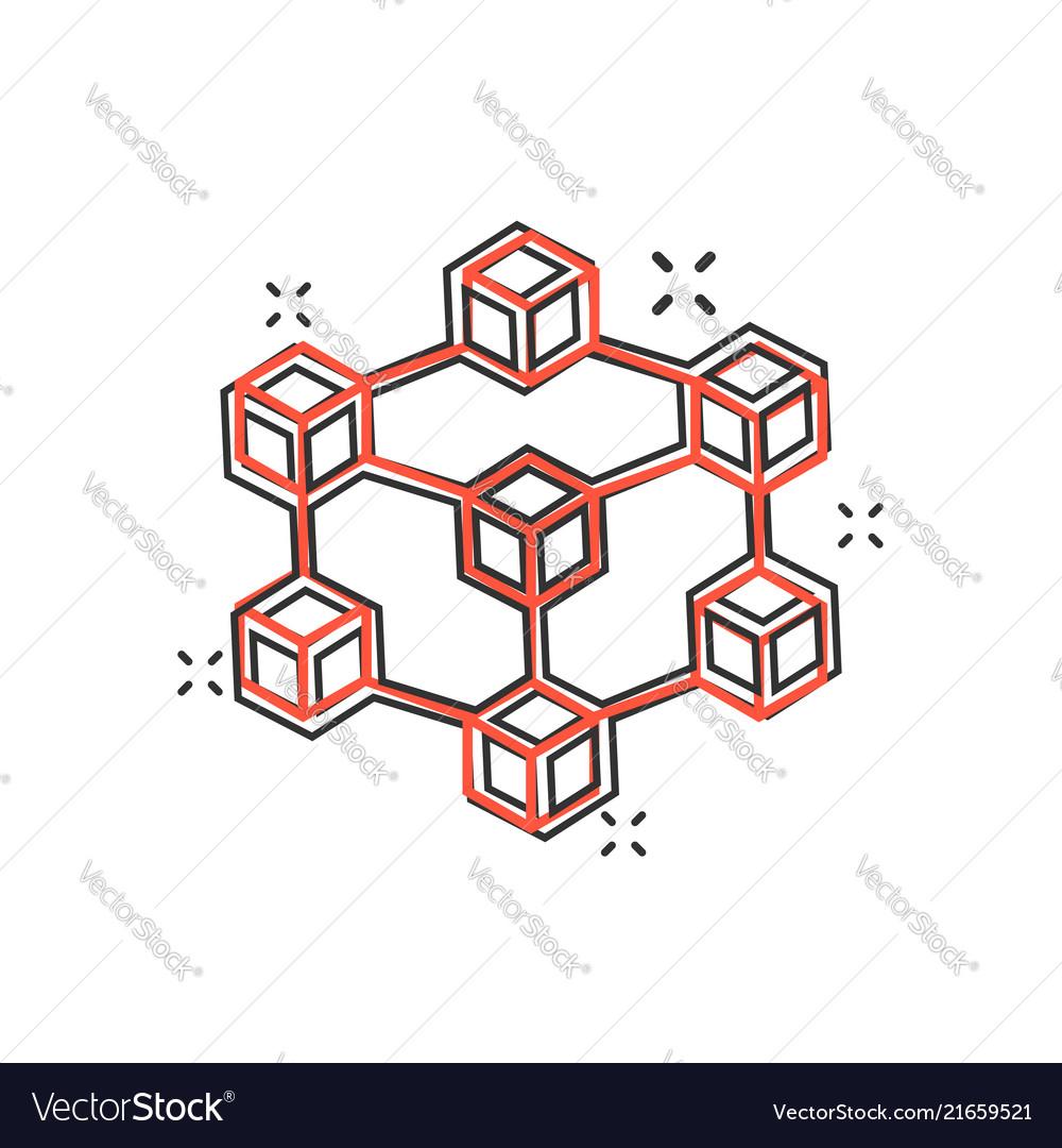 Cartoon blockchain technology icon in comic style