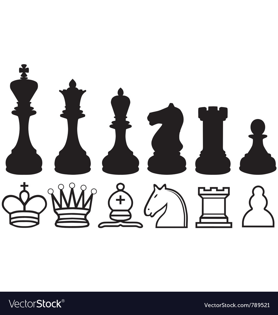 Chess piece silhouettes and symbols vector image