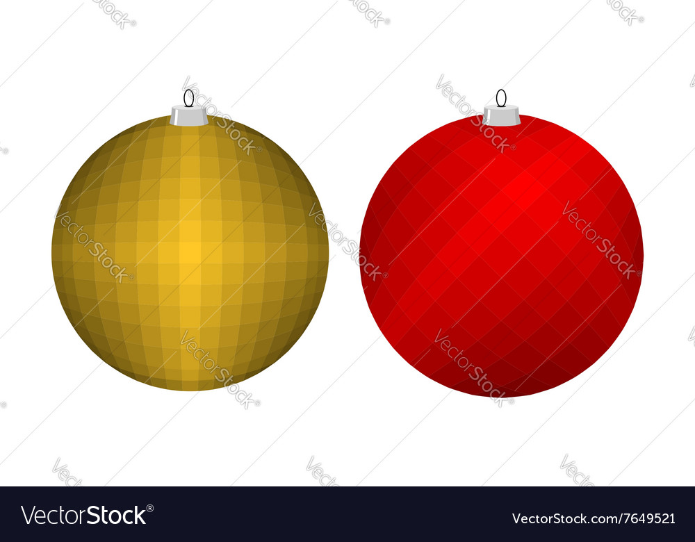 Christmas tree toy Golden and red ball Decoration vector image