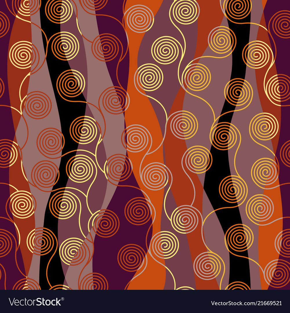 Curly waves pattern in art nouveau style