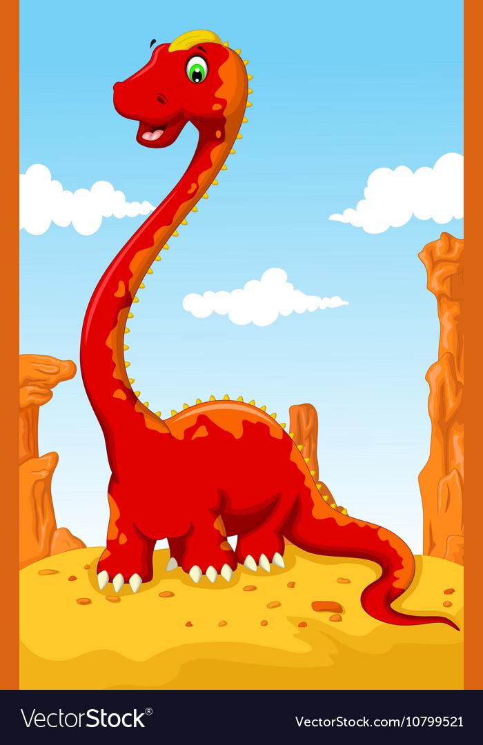 Cute dinosaur cartoon with desert landscape backgr