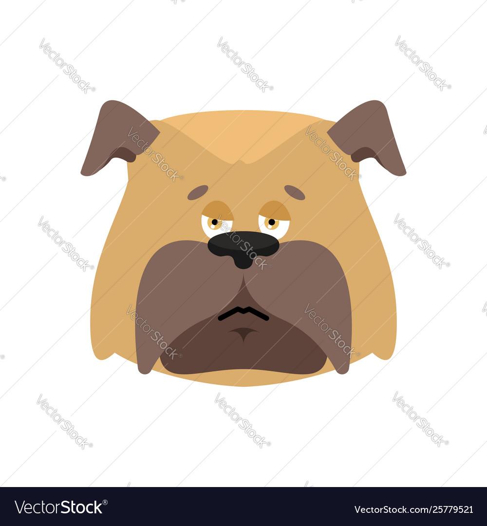 Dog sad emoji pet sorrowful emotions bulldog dull