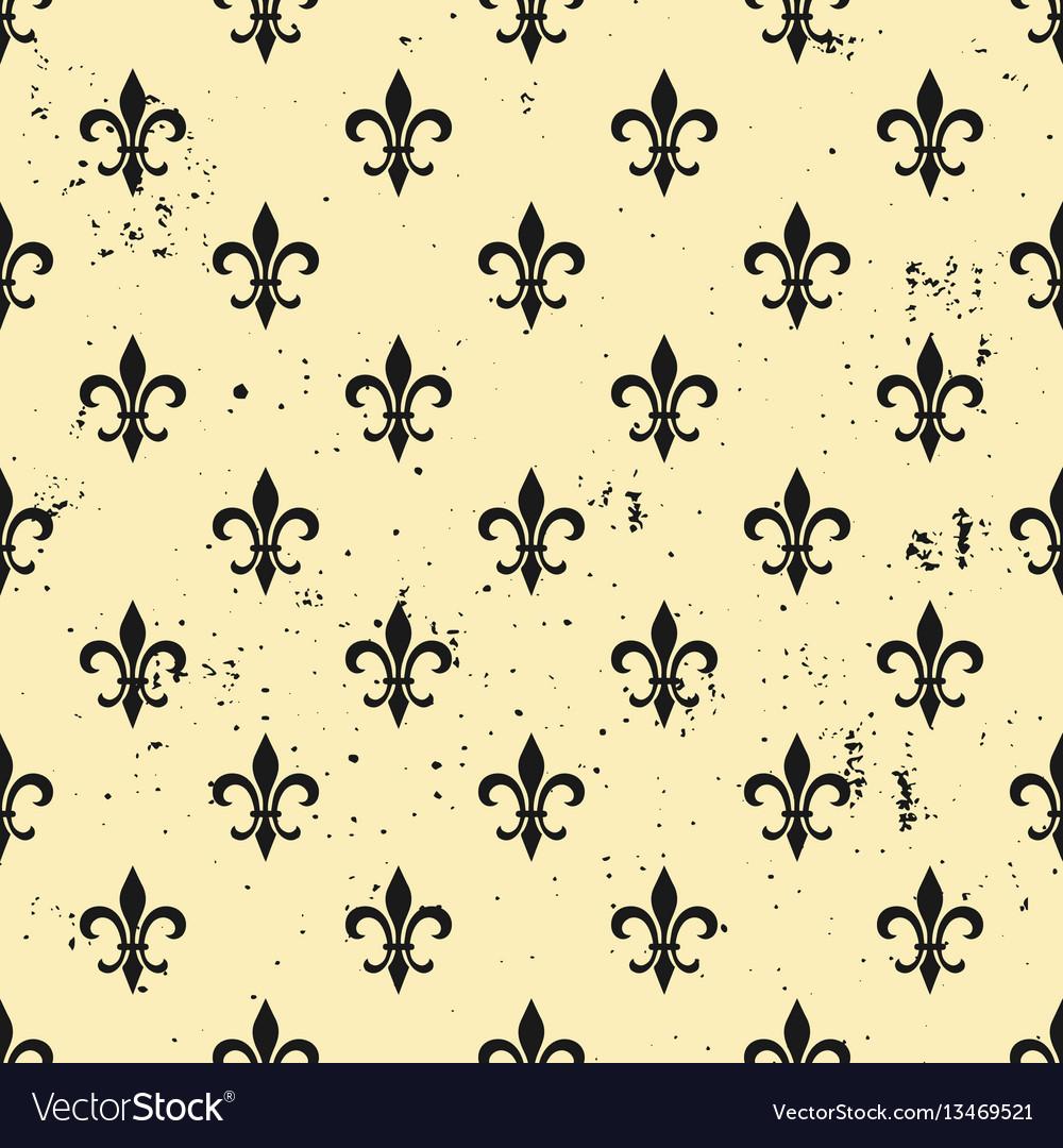 Fleur De Lis Seamless Pattern Ols Style Template Vector Image