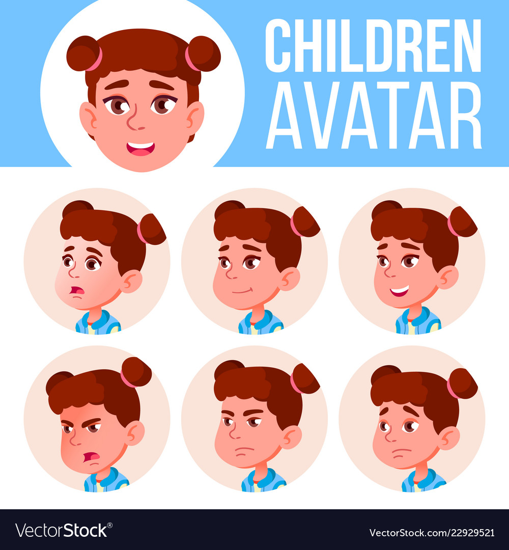 Girl avatar set kid primary school face