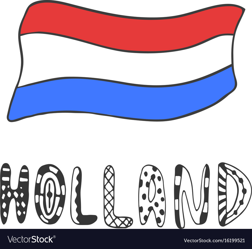 Hand drawn sketch of flag holland with doodle