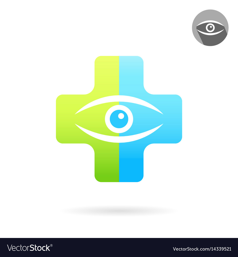 Human eye on medical multicolored plate