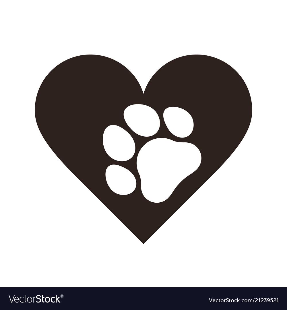 Pet paw print in heart