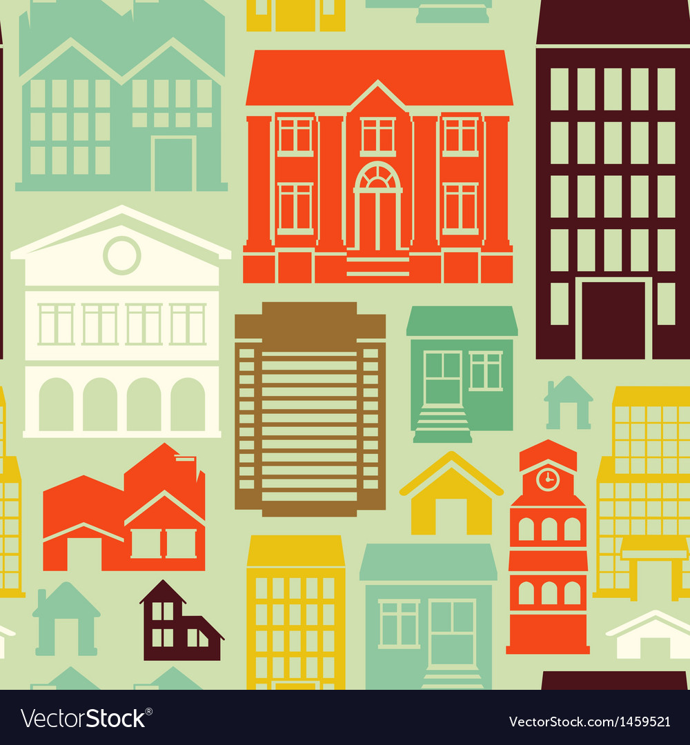 Seamless pattern with houses and buildings