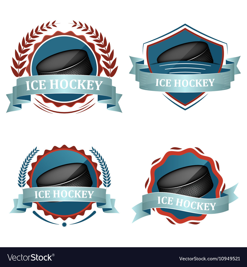 Set of ice hockey sport icons with ribbons laurel