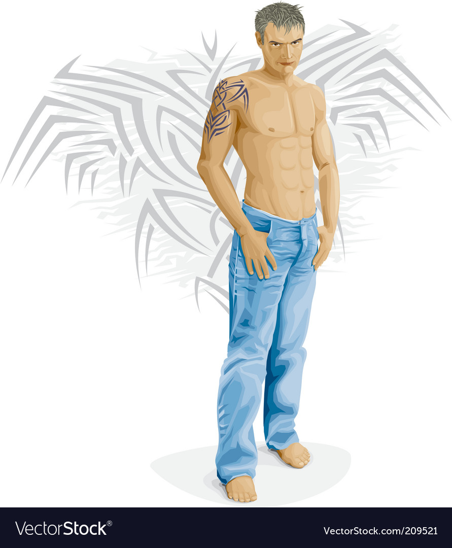 Sexy young man vector image